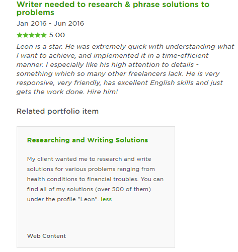 testimonial, great Upwork review, writing portfolio